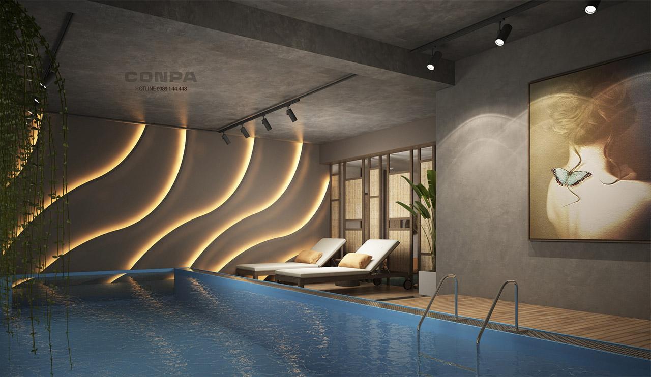 hồ bơi trang trí sơn giả bê tông Conpa