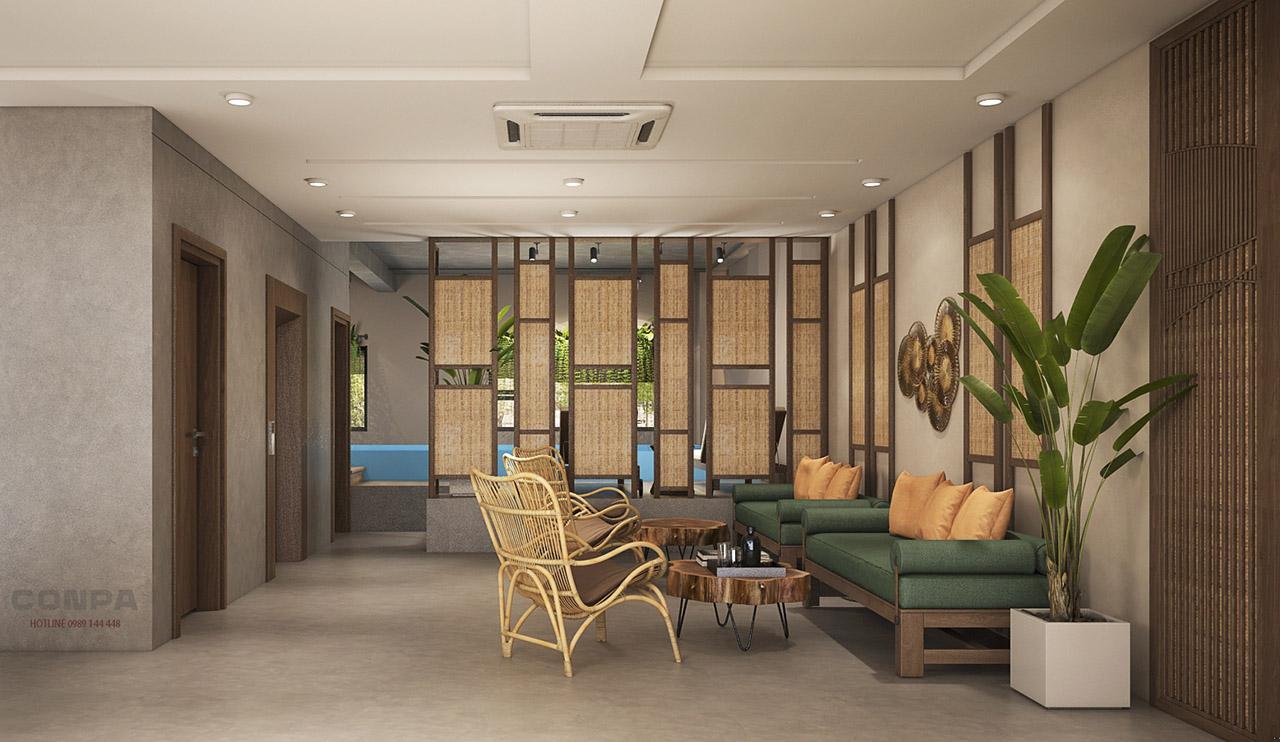 nội thất không gian khách sạn Sông Đà