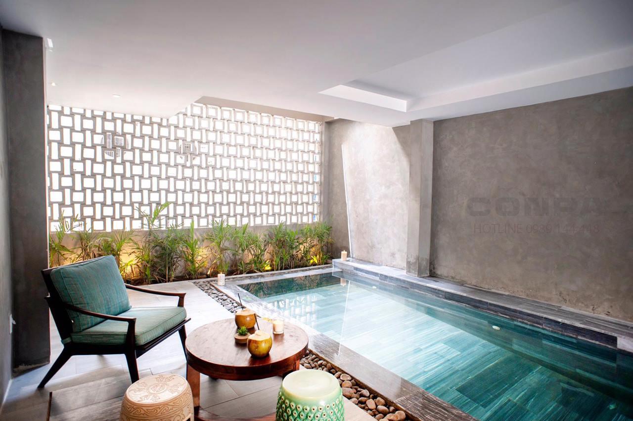 sơn bê tông trang trí hồ bơi villa