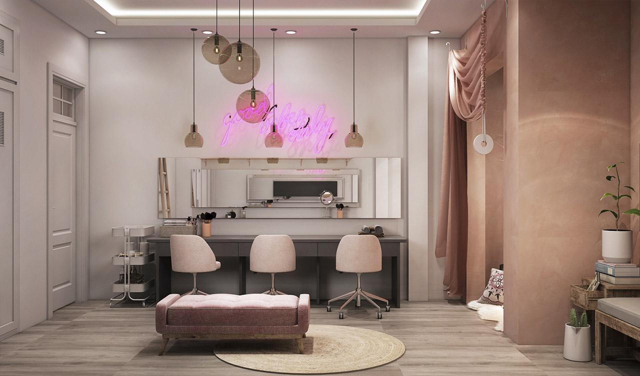 sơn hiệu ứng bê tông phòng trang điểm The Shine Home