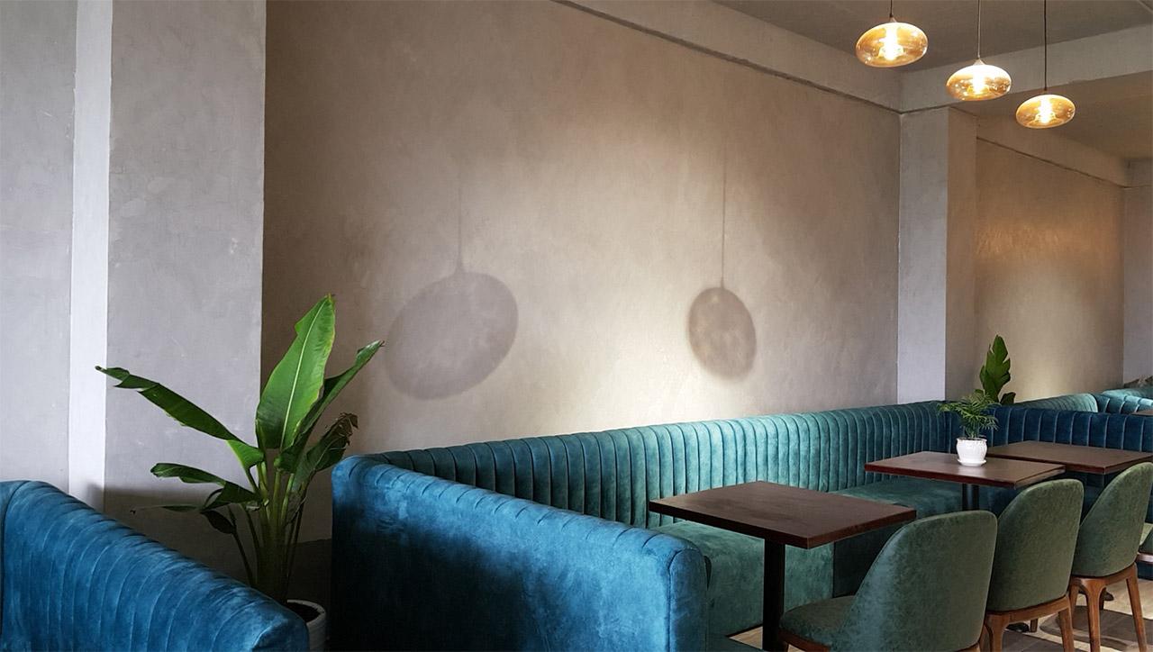 tường sơn hiệu ứng bê tông quán Liên Hoa Bakery