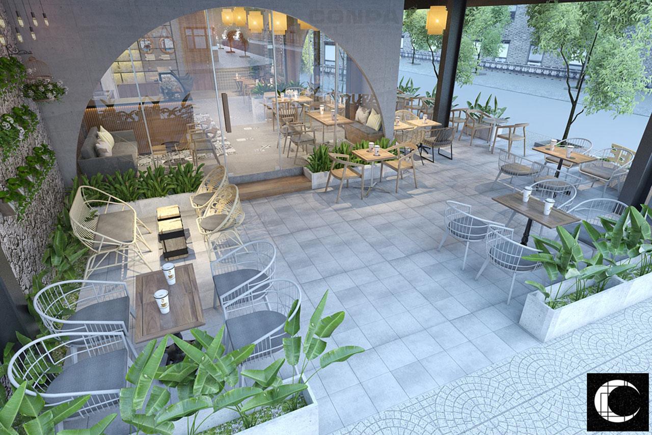 thiết kế không gian ngoại thất Magnolia Coffee