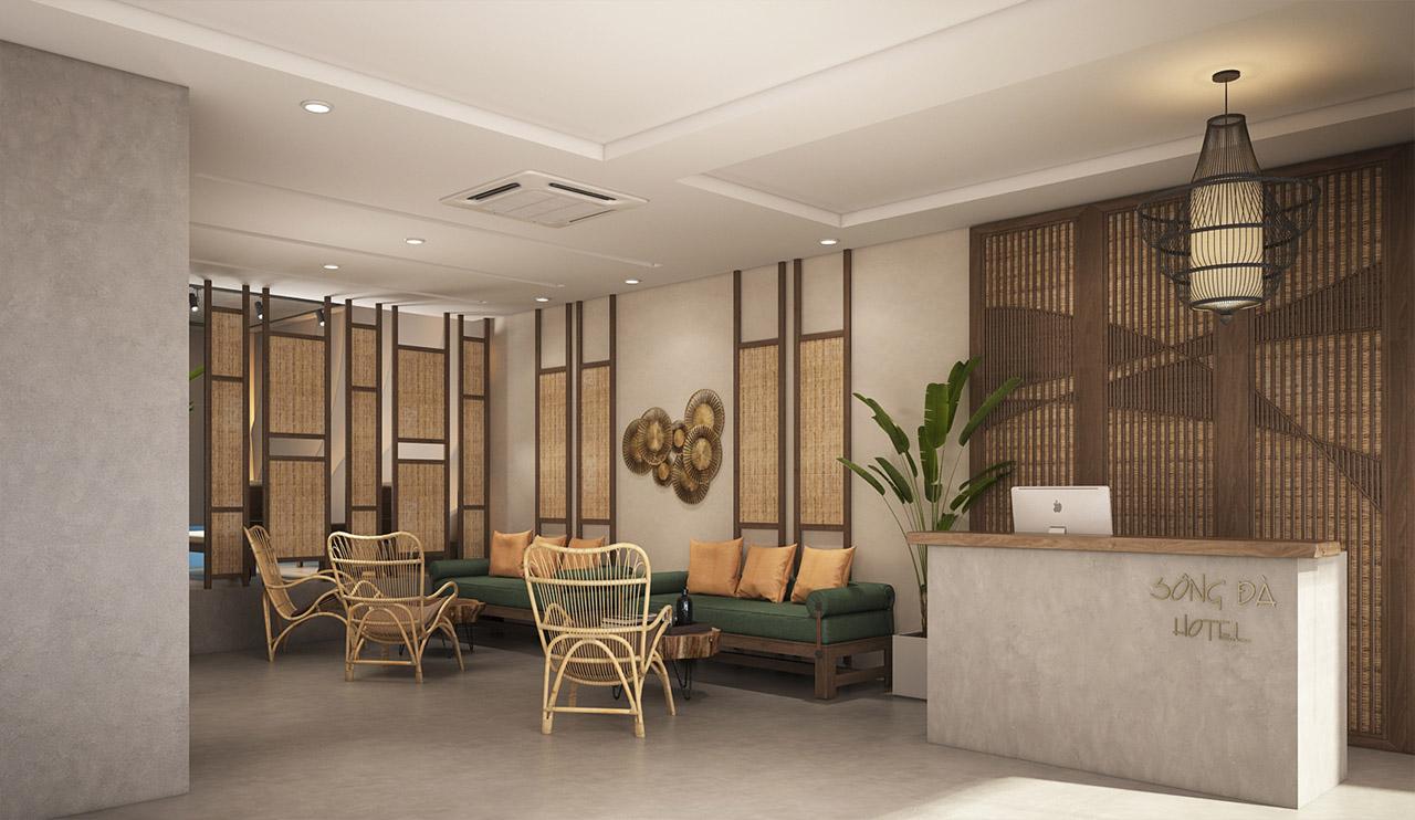 thiết kế quầy lễ tân Sông Đà Hotel