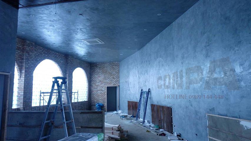 thi công sơn giả bê tông quán ZEN Tea Coffee