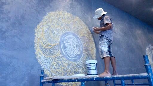 thi công sơn hoa văn trên tường