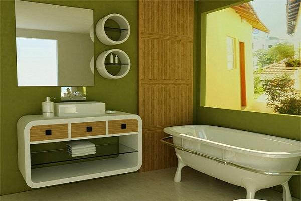 màu sơn phòng tắm xanh lá cây