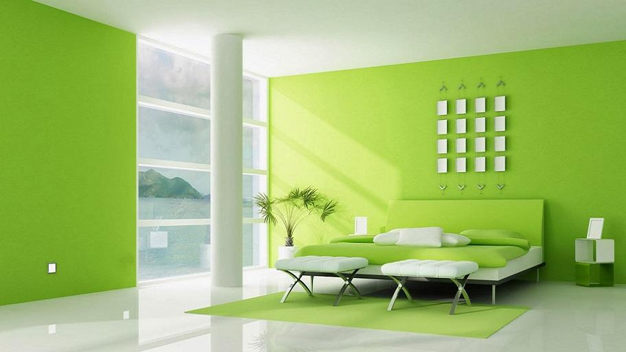 màu sơn xanh lá cho phòng khách