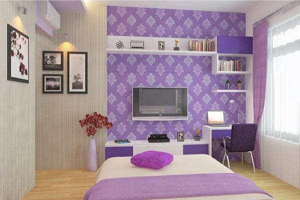 màu sơn tím cho phòng ngủ