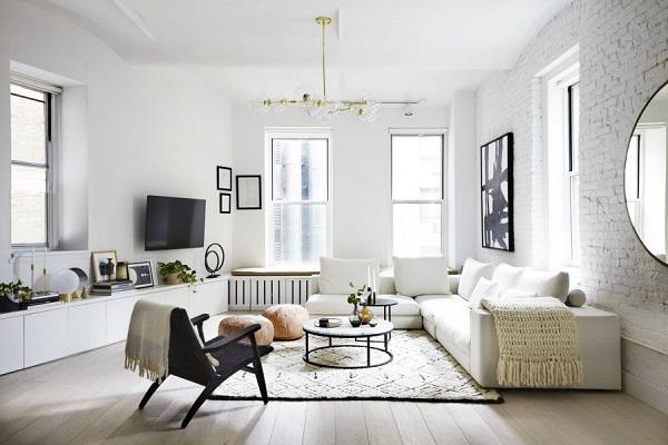 màu sơn trắng xám cho phòng khách