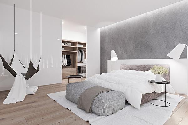 màu sơn trắng cho phòng ngủ