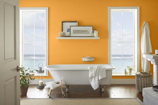 phòng tắm màu cam kem