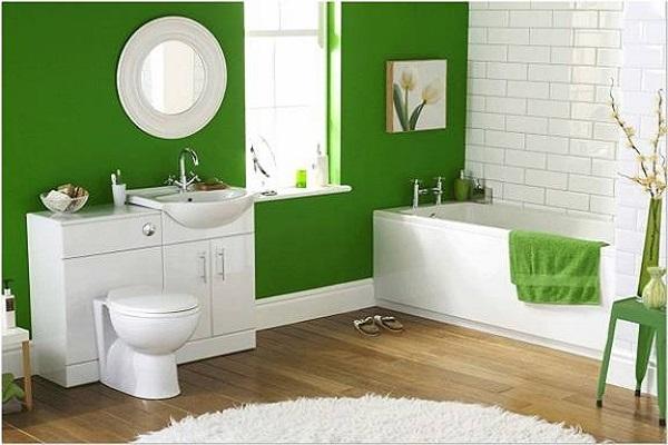 phòng tắm màu xanh lá cây