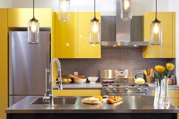 màu vàng xám cho nhà bếp