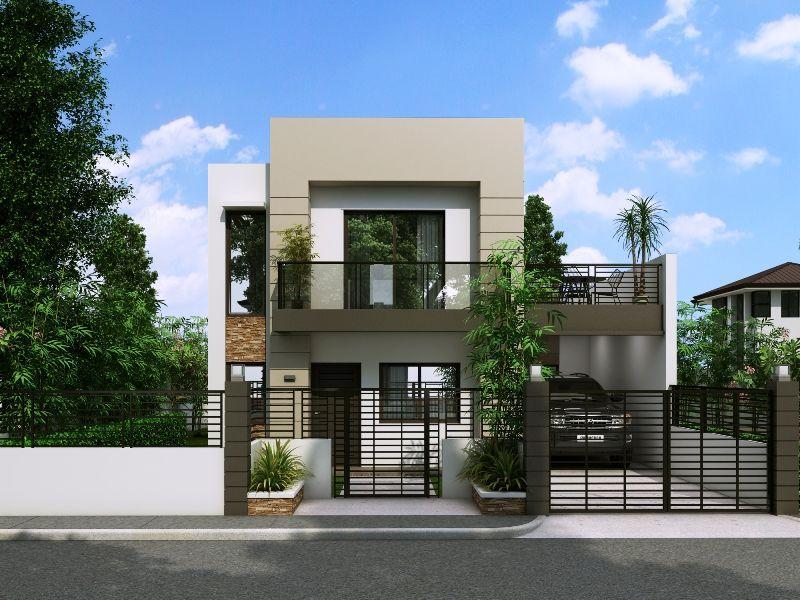 Thiết kế nhà 2 tầng với ban công rộng và cây xanh