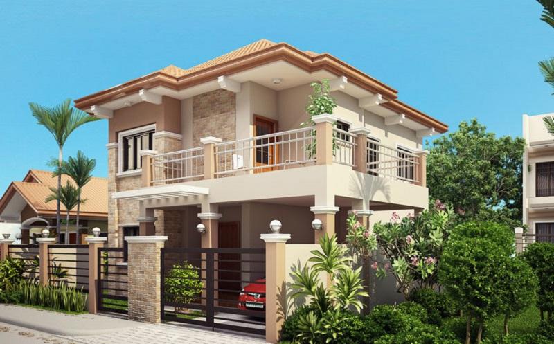 Nhà 2 tầng với gam màu sáng