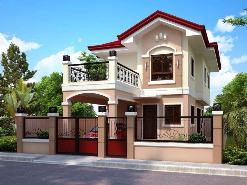 Mẫu nhà 2 tầng mái thái tone màu ngọt