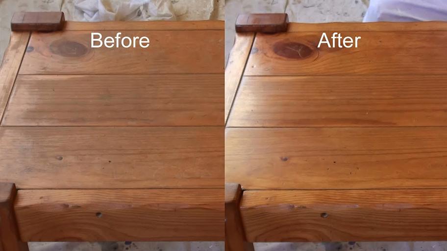 So sánh hai bề mặt gỗ có sử dụng sơn PU và không sử dụng sơn PU