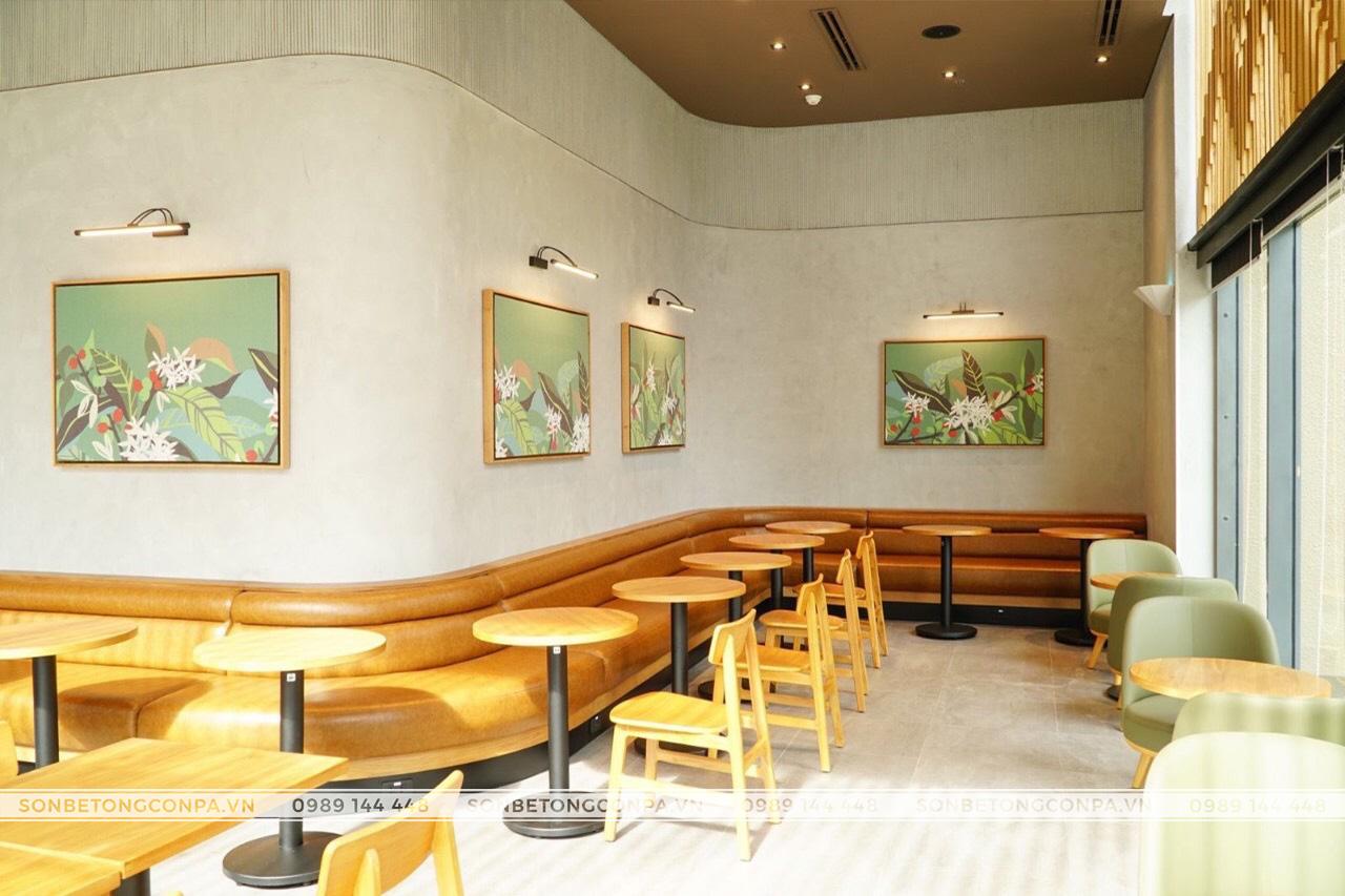sơn hiêu ứng bê tông quán cà phê starbuck