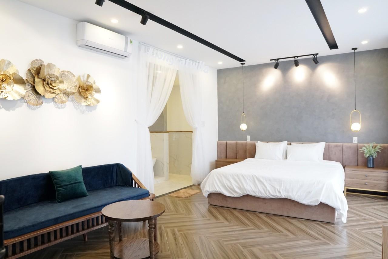 Sơn giả xi măng phòng ngủ khách sạn villa