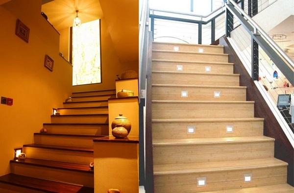 dùng đèn trang trí cầu thang