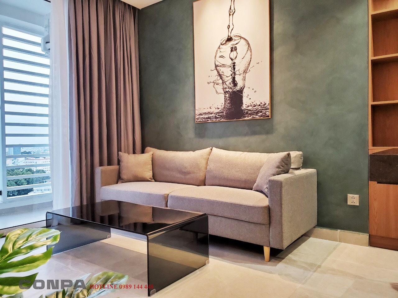 Sơn beton không gian phòng khách can hộ Novaland