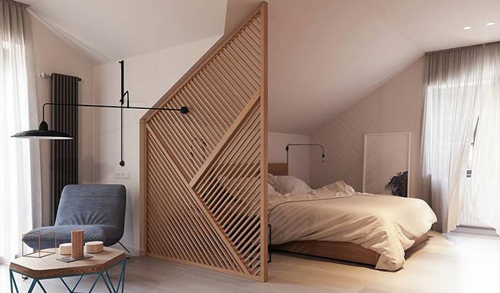 Vách phòng ngủ bằng gỗ với thiết kế độc đáo, hiện đại