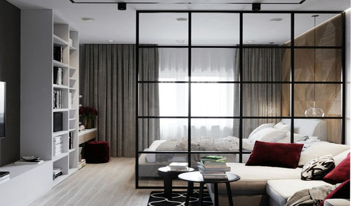 Vách ngăn phòng ngủ bằng nhôm kính mang vẻ đẹp hiện đại