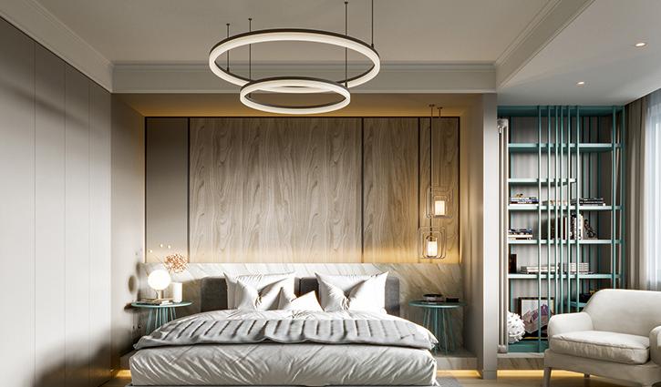 Đèn thả trần hai vòng mang đến sự hiện đại cho phòng ngủ