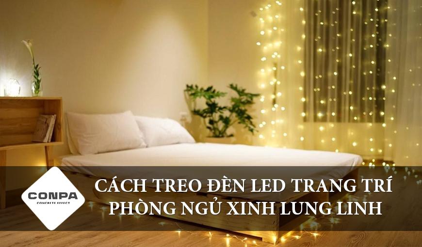 Cách treo đèn LED trang trí phòng ngủ xinh lung linh