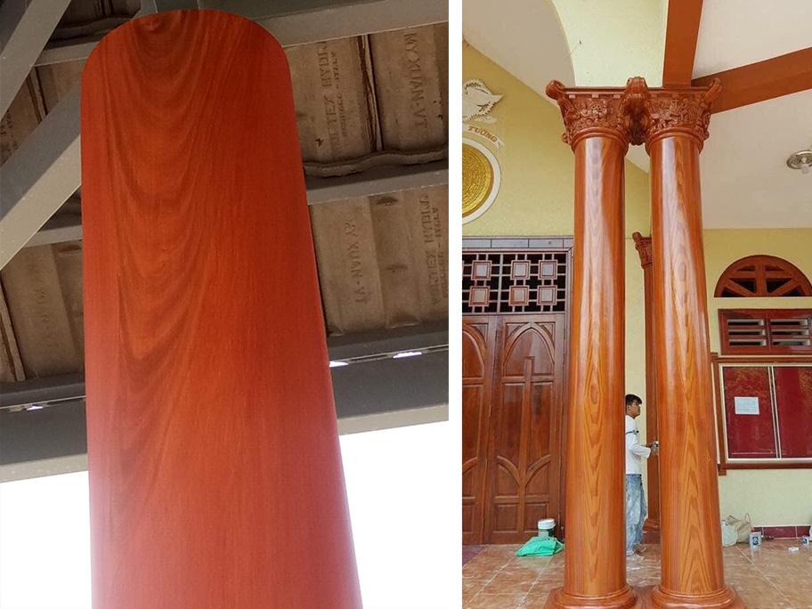 Cột tường sơn giả gỗ