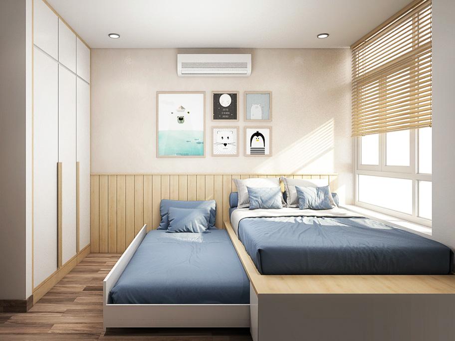 Sơn hiệu ứng bê tông giúp phòng ngủ biệt thự trở nên thoáng rộng hơn