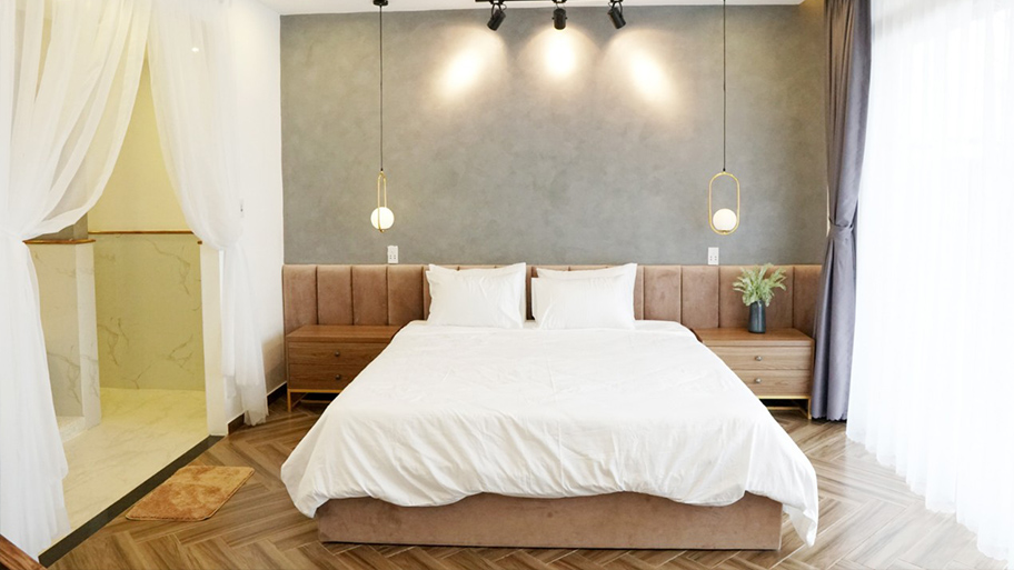 Sơn hiệu ứng bê tông màu xám phù hợp với phong cách tối giản