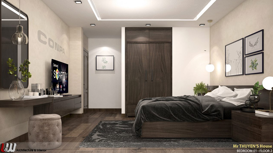 Phòng ngủ mang vẻ đẹp độc đáo và hiện đại với sơn hiệu ứng bê tông