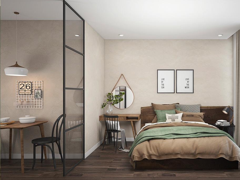 Phòng ngủ biệt thự nhẹ nhàng với sơn hiệu ứng bê tông