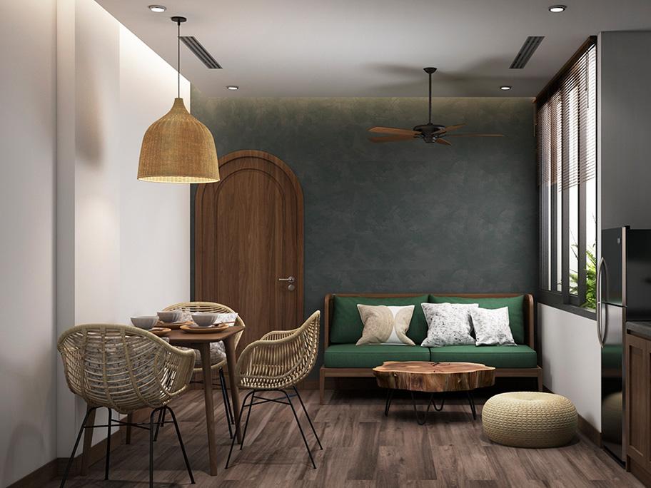 Phòng ngủ sử dụng sơn hiệu ứng bê tông màu xanh xám