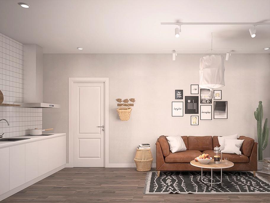 Sơn hiệu ứng bê tông màu trắng trong phòng khách