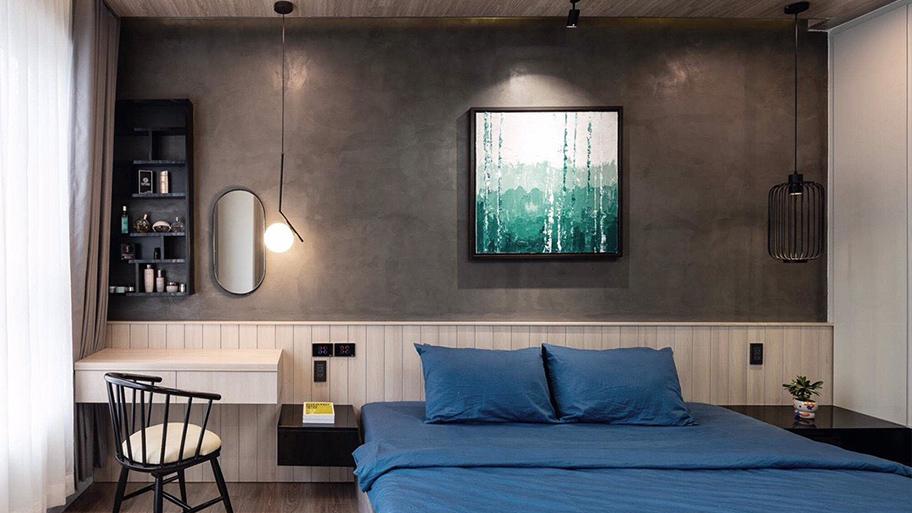 Sơn hiệu ứng bê tông màu đen xám làm cho phòng ngủ của bạn thêm độc đáo