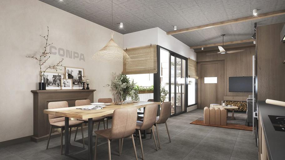 Sơn hiệu ứng bê tông màu trắng xám dùng trong phòng ăn