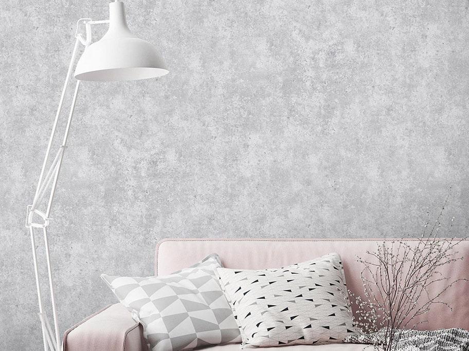 Giấy dán tường giả bê tông thường sử dụng nhiều trong phòng khách