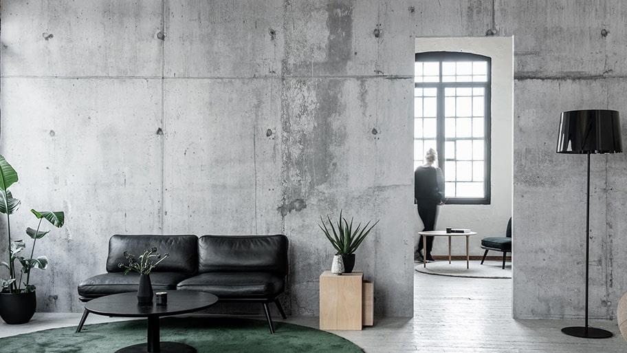 Giấy dán tường giả bê tông phù hợp với phong cách công nghiệp