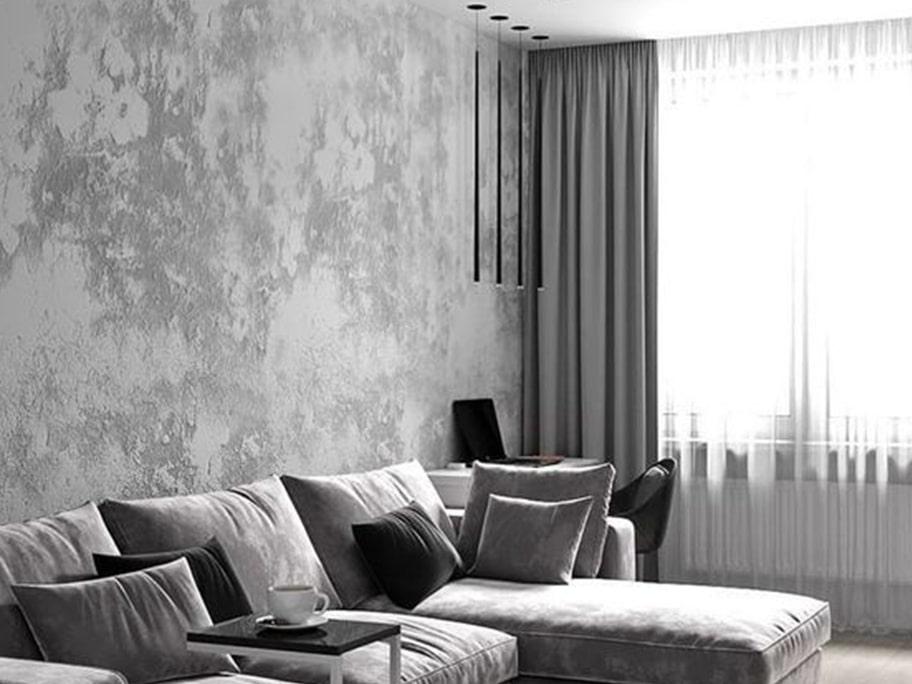 Giấy dán tường giả bê tông khiến phòng khách trở nên sang trọng