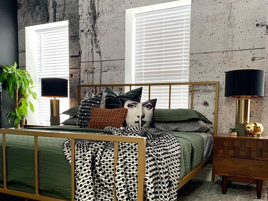 Giấy dán tường giả bê tông dùng trong phòng ngủ