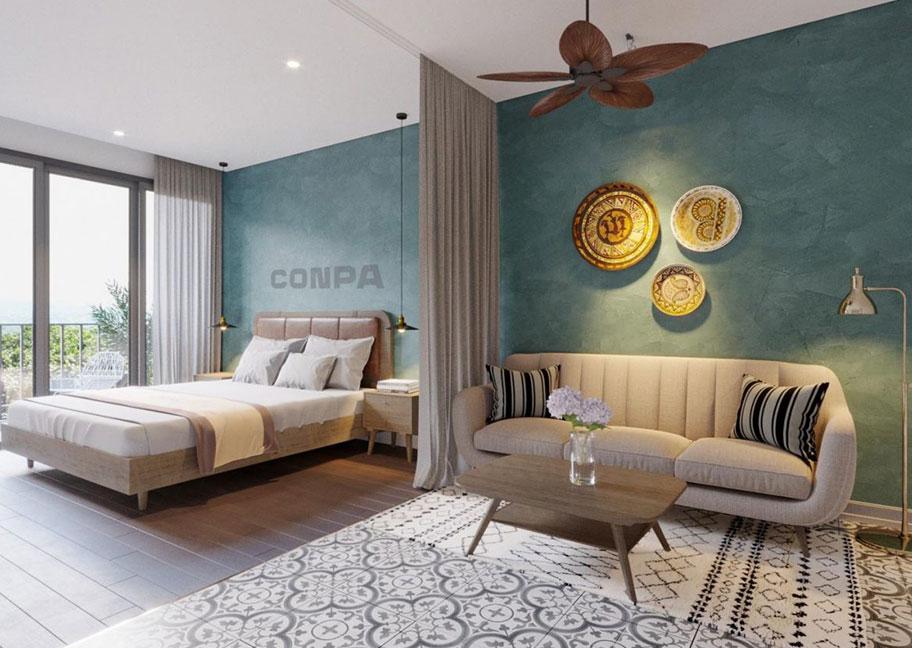 Sơn hiệu ứng màu xanh đậm dùng trong phòng ngủ