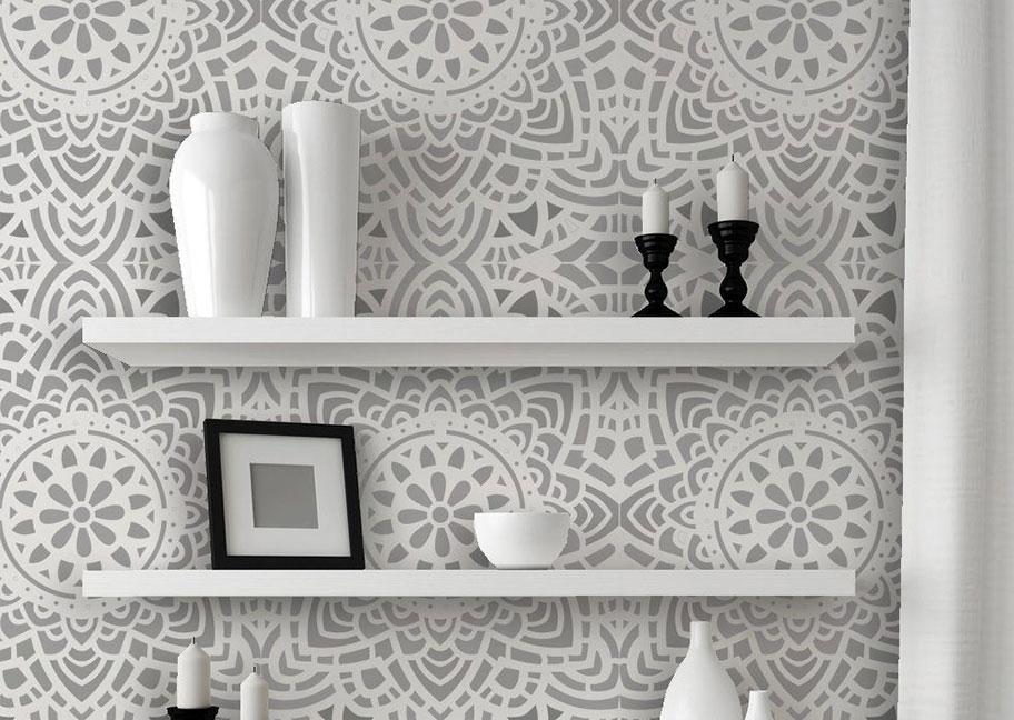Sơn tường hoa văn màu trắng xám