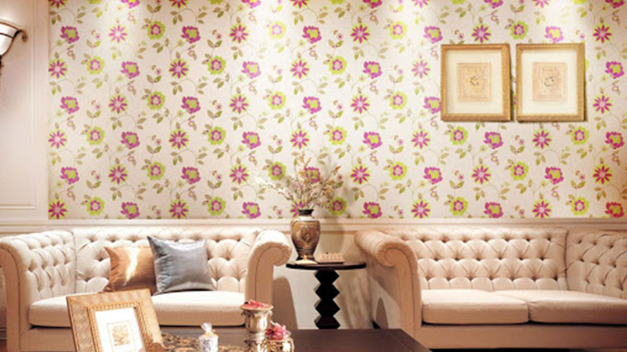 Sử dụng sơn tường hoa văn trong phòng khách