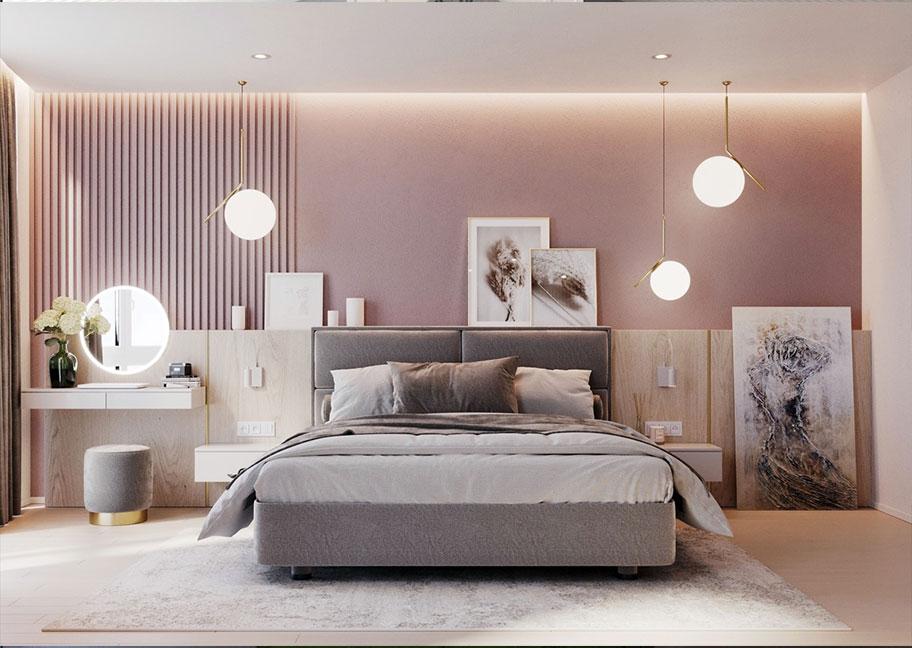 Thiết kế phòng ngủ với sơn hiệu ứng màu hồng san hô