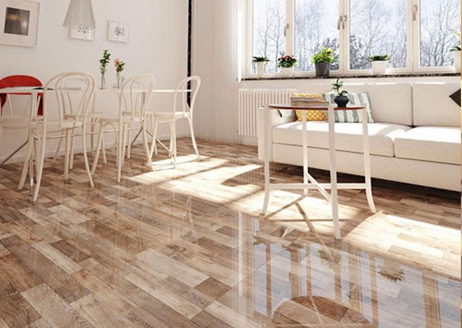 Gạch lát nền gỗ kết hợp với tường nhà màu sáng