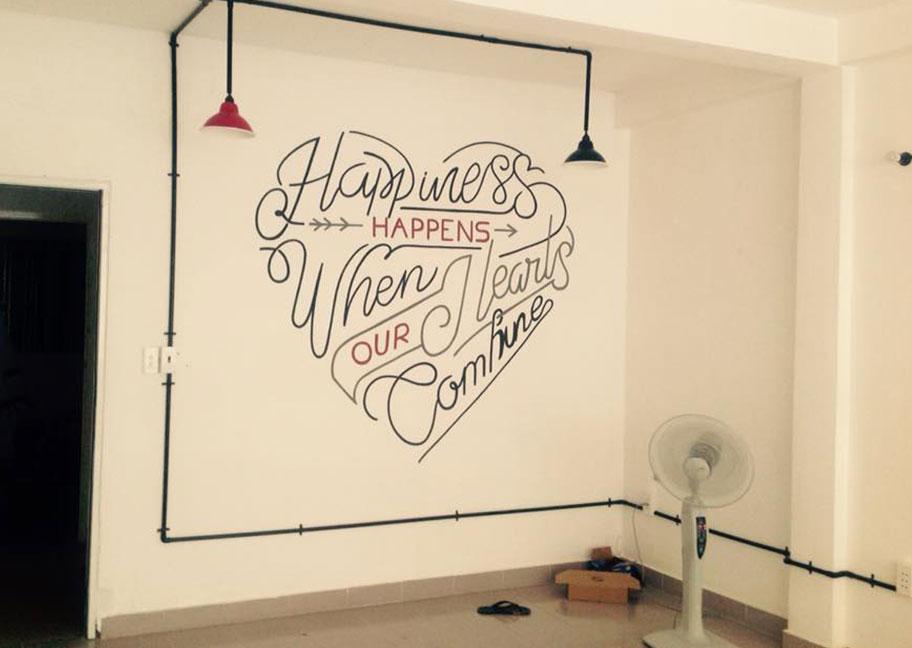 Gợi ý dùng chữ để sơn tường nhà