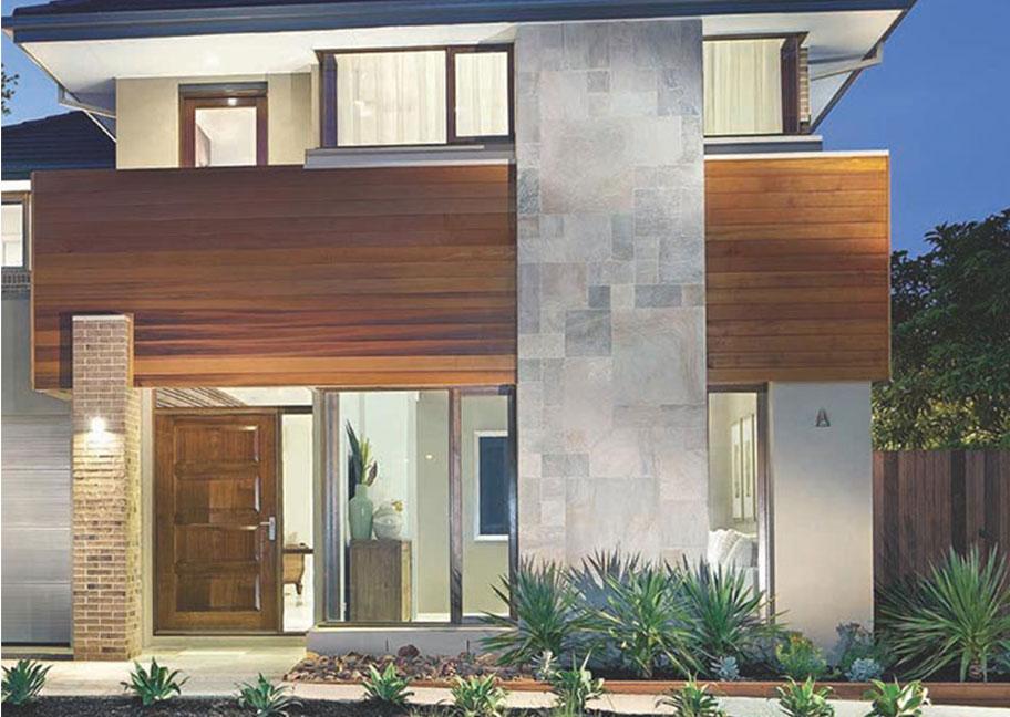 Kết hợp gạch lát tường ngoại thất và gỗ