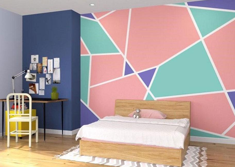 Không gian phòng ngủ sử dụng sơn hình học